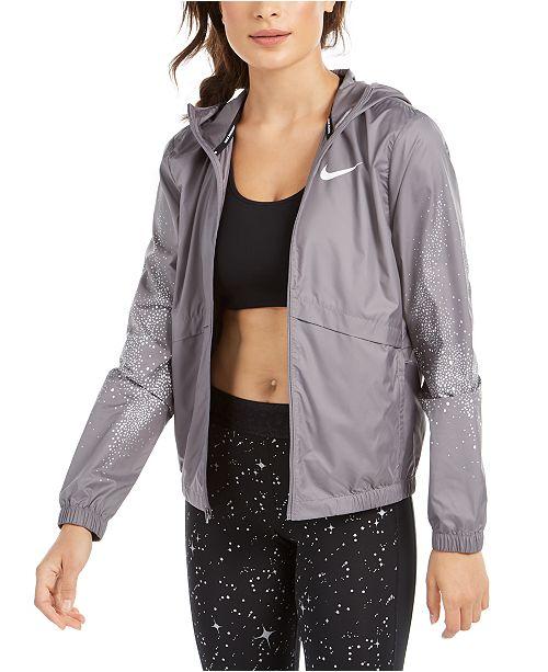empresario ángulo escucho música  Nike Women's Essential Water-Repellent Hooded Running Jacket & Reviews -  Women - Macy's