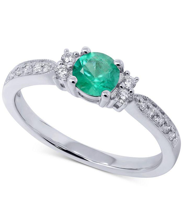 Macy's - Emerald (1/3 ct. t.w.) & Diamond (1/6 ct. t.w.) Ring in 14k White Gold