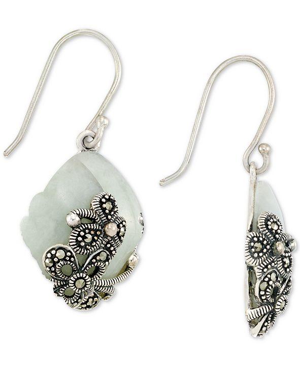 Macy's Jade (15 x 20 x 4mm) & Marcasite Flower Drop Earrings in Sterling Silver