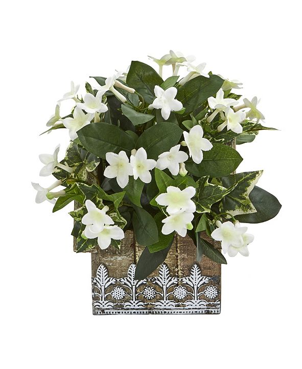 """Nearly Natural 10"""" Mix Stephanotis and Ivy Artificial Plant in Hanging Floral Design House Planter"""