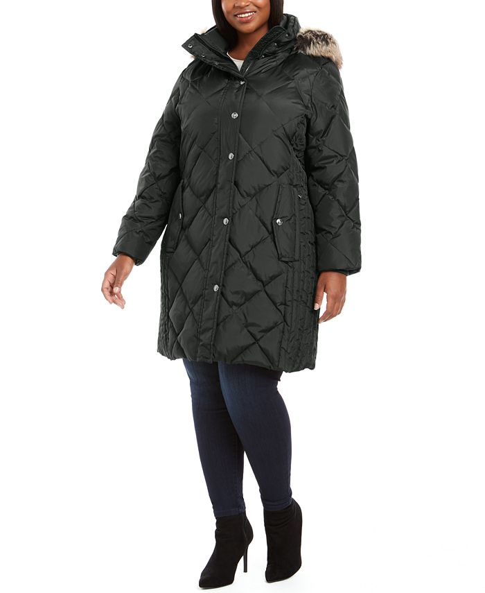 London Fog - Plus Size Diamond-Quilted Hooded Puffer Coat With Faux-Fur Trim