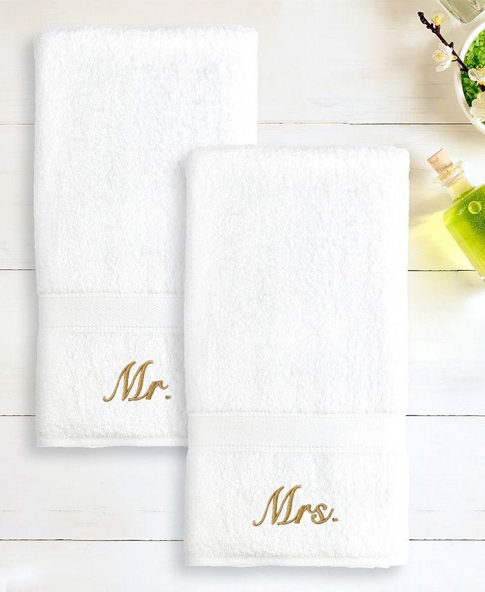 "Linum Home - 100% Turkish Cotton ""Mr."" and ""Mrs."" 2-Pc. Hand Towel Set"