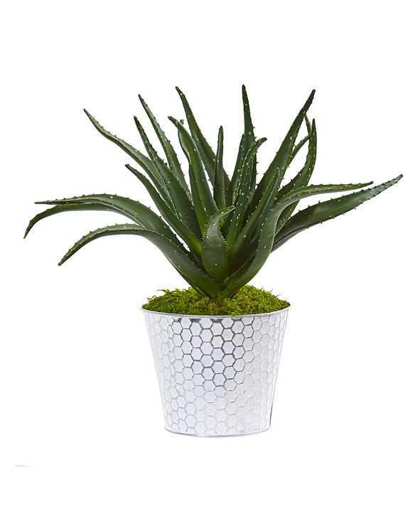 "Nearly Natural 14"" Aloe Artificial Plant in White and Tin Embossed Planter"