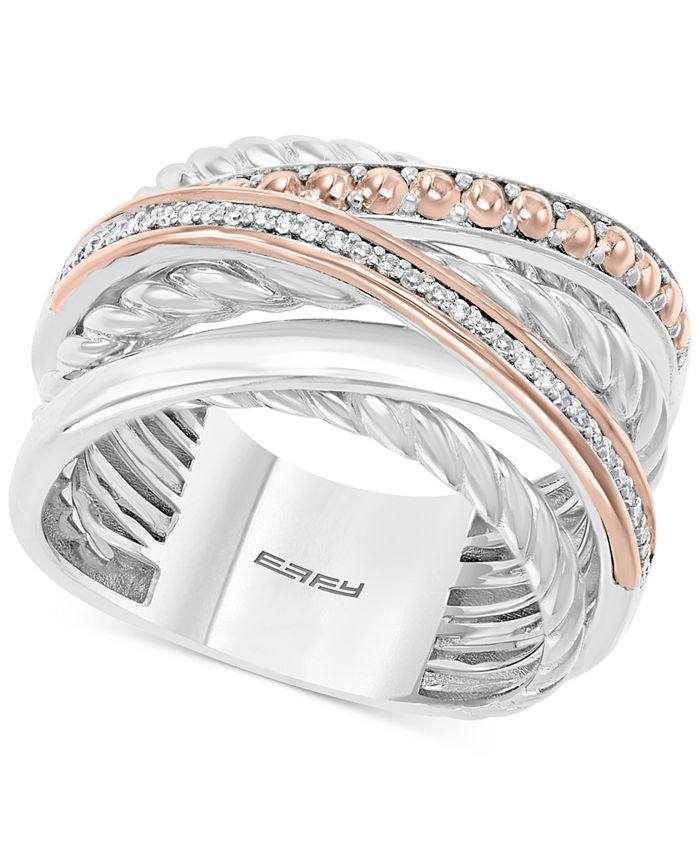 EFFY Collection - Diamond Crossover Statement Ring (1/10 ct. t.w.) in Sterling Silver and 14k Rose Gold