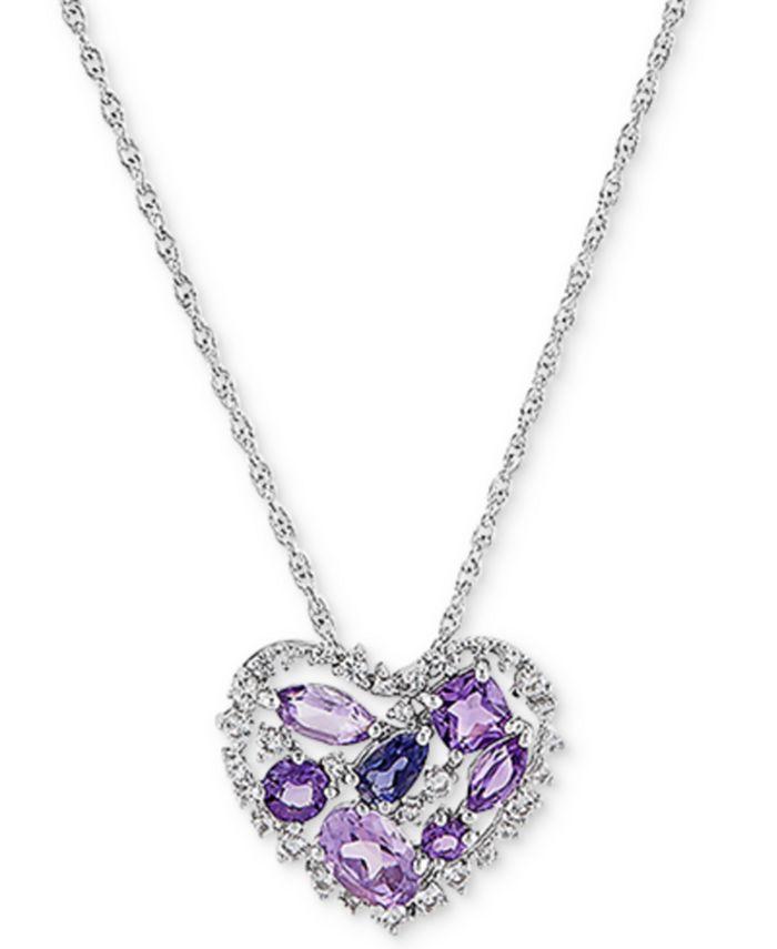 "Macy's - Amethyst (1-1/5 ct. t.w.) & Iolite (1/5 ct. t.w.) Open Heart 18"" Pendant Necklace in Sterling Silver"
