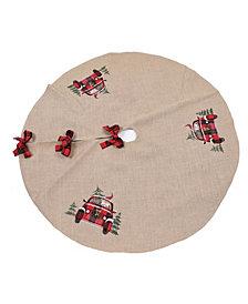 """Manor Luxe Santa Claus Riding on Car Christmas Tree Skirt 56"""" Round"""