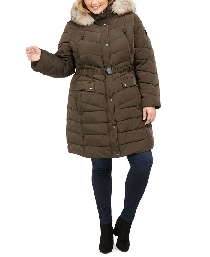 Vince Camuto - Plus Size Belted Faux-Fur-Trim Hooded Puffer Coat