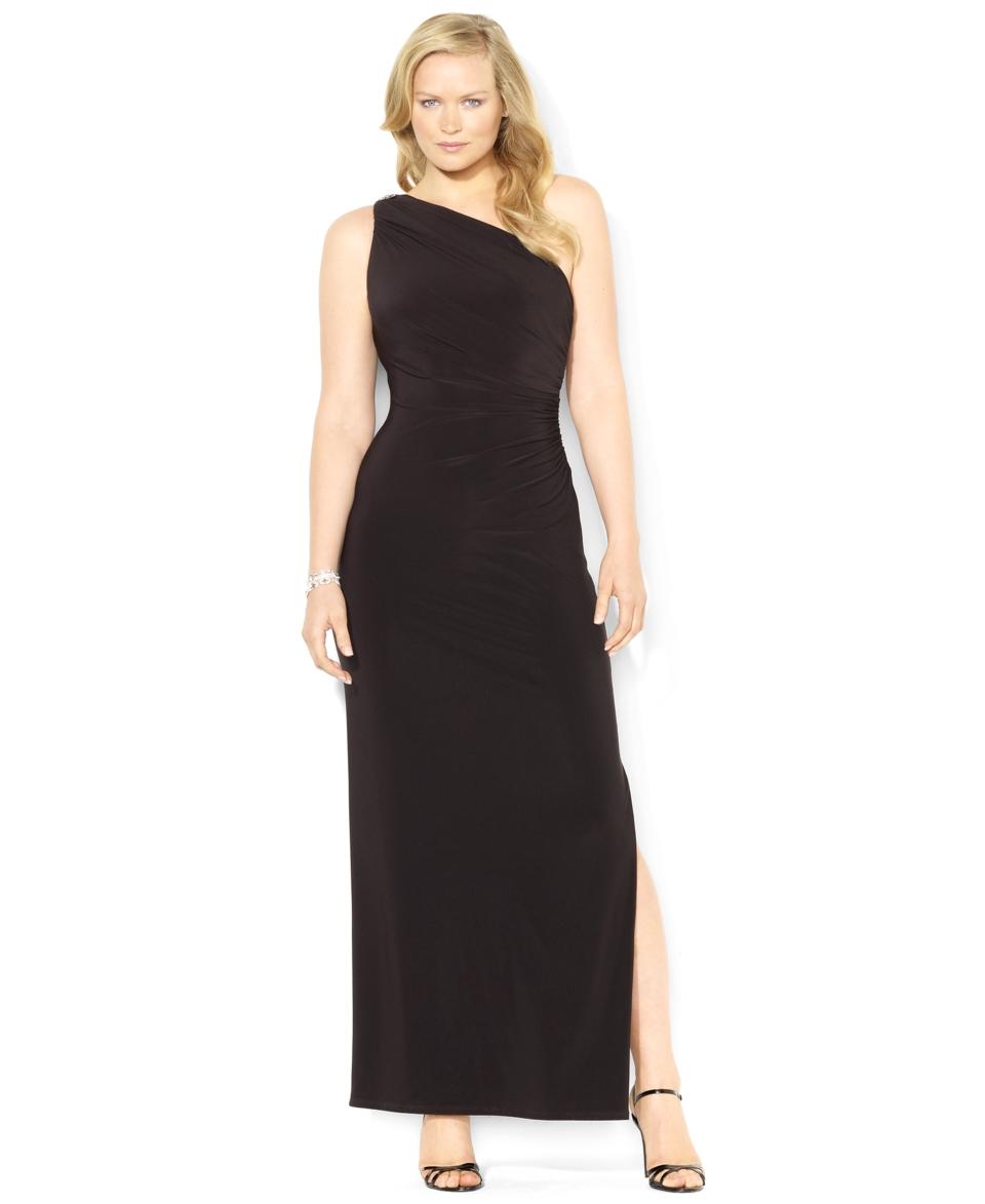 Lauren Ralph Lauren Plus Size Dress, One Shoulder Brooch Gown