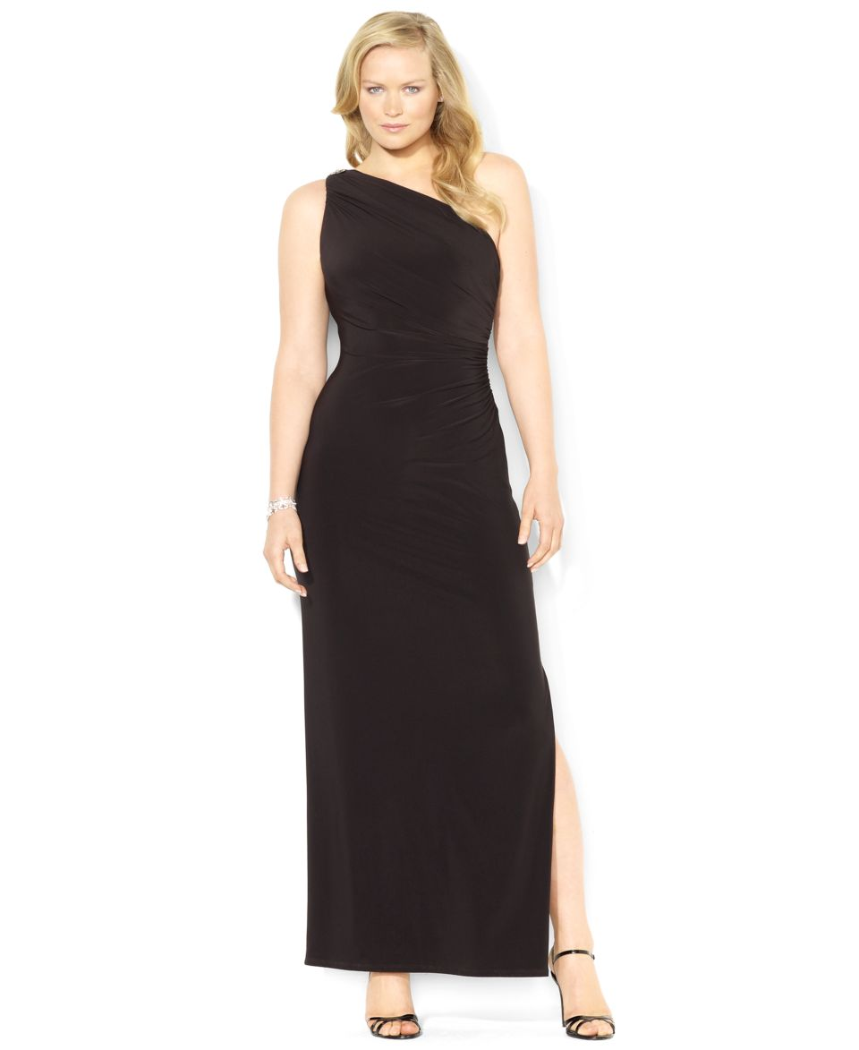 Lauren Ralph Lauren Plus Size Dress, One Shoulder Brooch ...