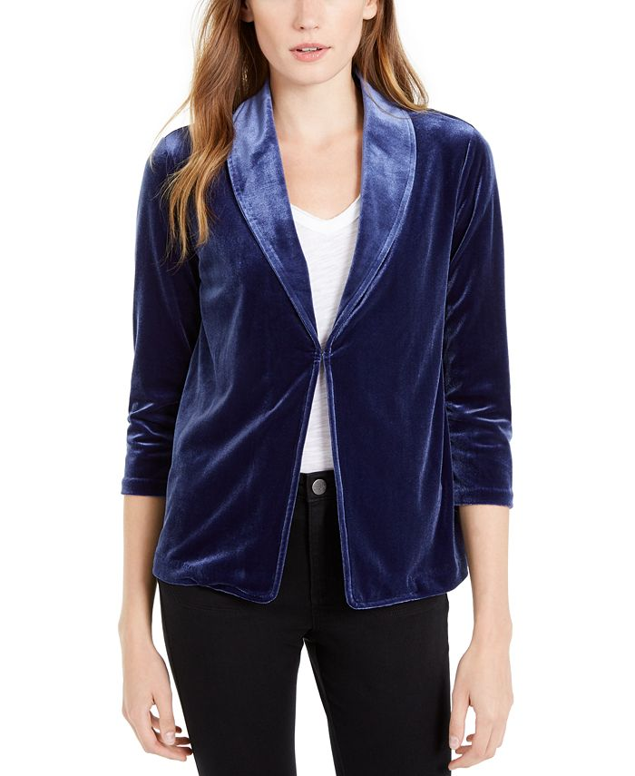 Maison Jules - 3/4-Sleeve Velvet Blazer