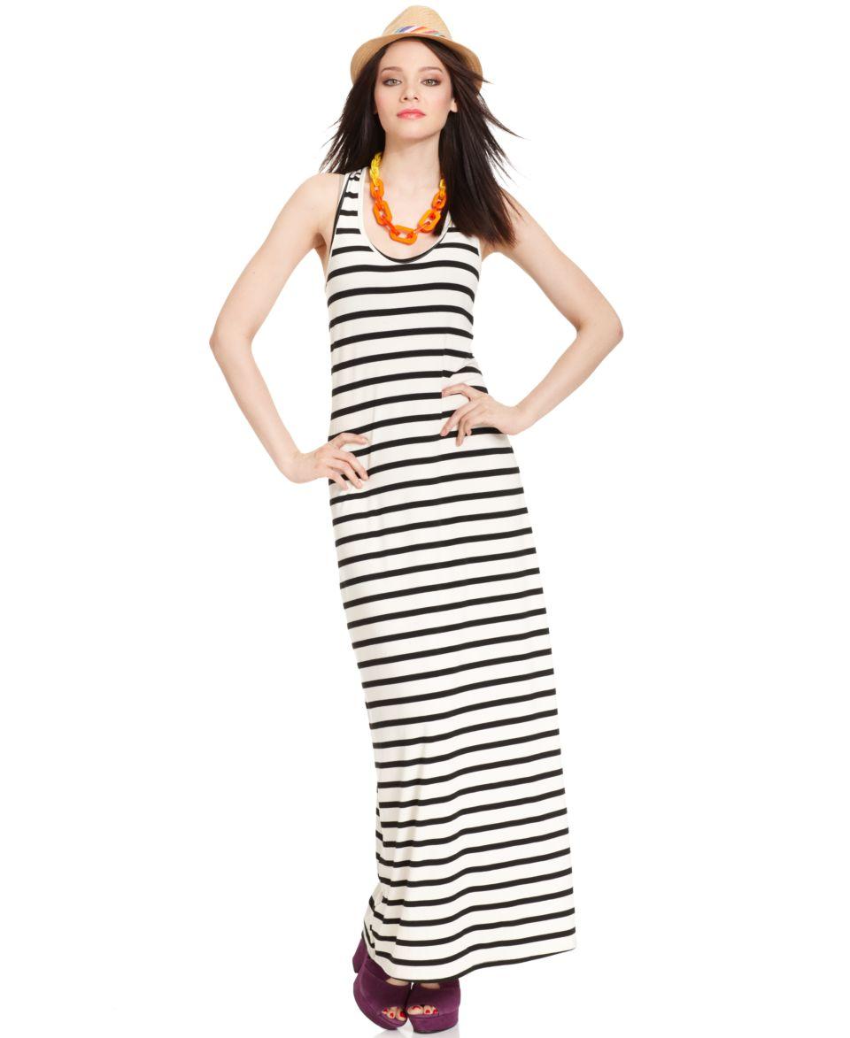 Bar III Dress, Sleeveless Scoop Neck Striped Maxi   Dresses   Women