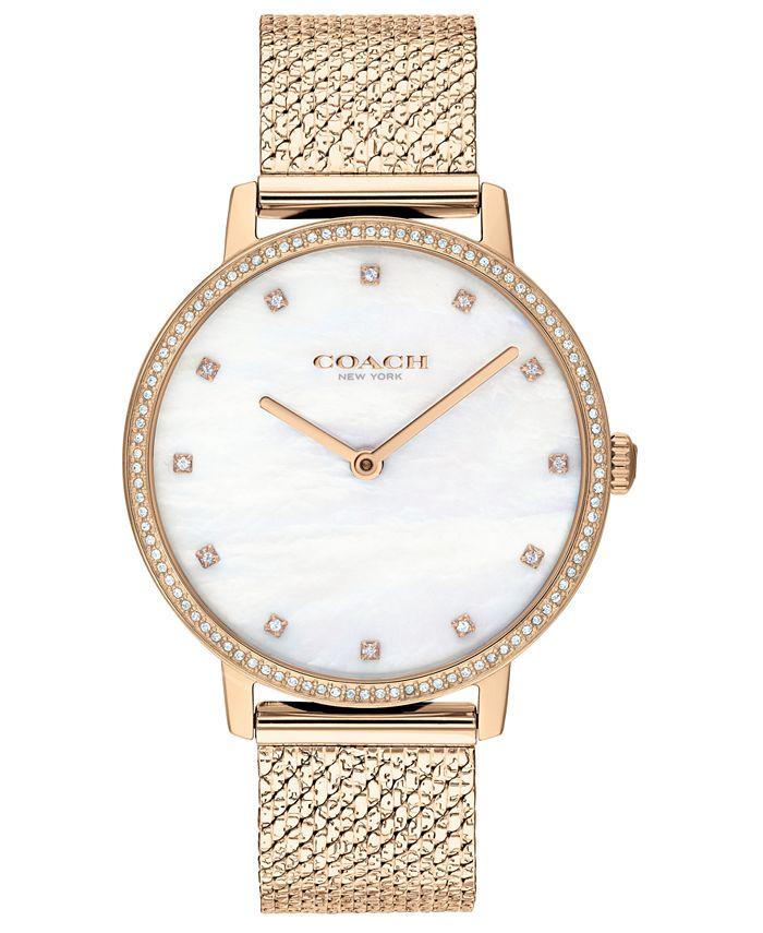 COACH - Women's Audrey Carnation Gold-Tone Stainless Steel Mesh Bracelet Watch 35mm