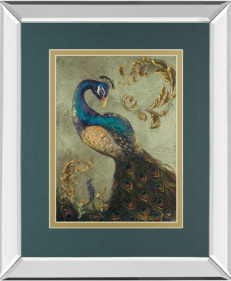 """Peacock on Sage Il by Tiffany Hakimipour Mirror Framed Print Wall Art - 34"""" x 40"""""""