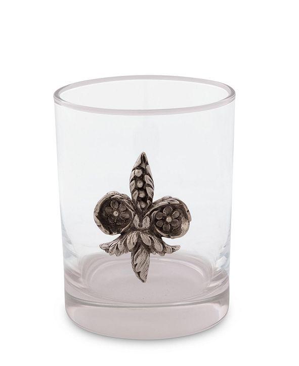 "Vagabond House Hand-Blown Double Old Fashion Glass ""Fleur De Lis"" with Solid Pewter Accent"