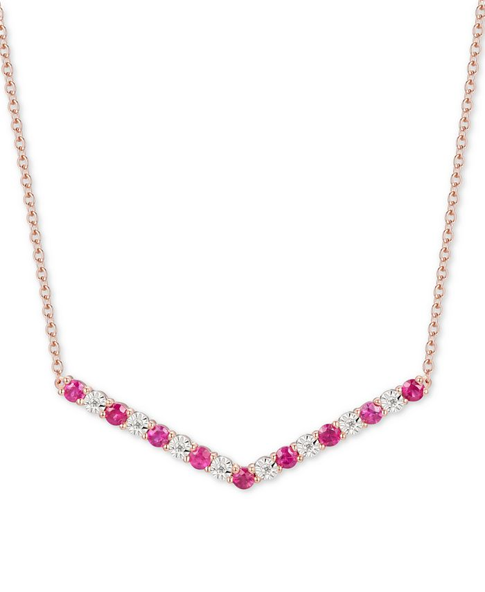 """Macy's - Certified Ruby (5/8 ct. t.w.) & Diamond (1/20 ct. t.w.) Chevron 16"""" Statement Necklace in 14k Rose Gold-Plated Sterling Silver"""