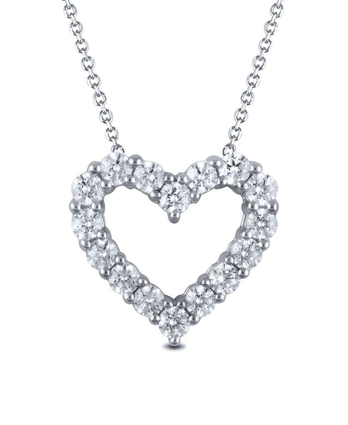 "Macy's - Diamond 18"" Heart Pendant Necklace (2 ct. t.w.) in 14k White Gold"
