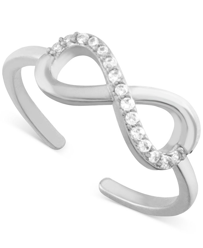 Essentials - Crystal Infinity Toe Ring in Fine Silver-Plate