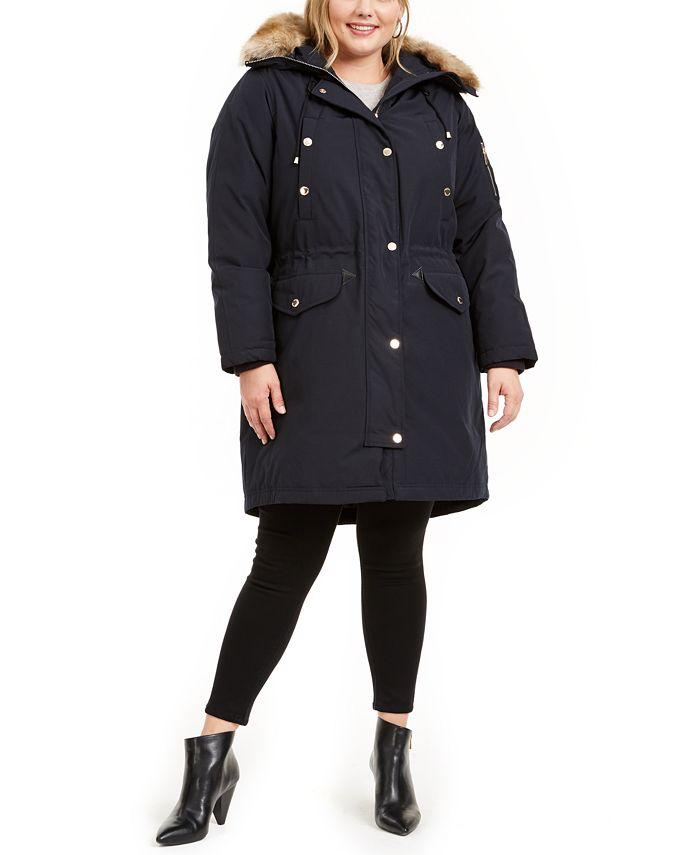 Michael Kors - Plus Size Hooded Faux-Fur-Trim Parka Coat