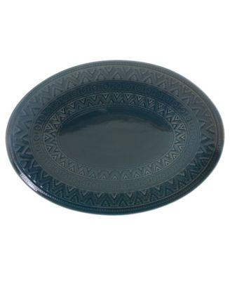 Aztec Teal Oval Platter