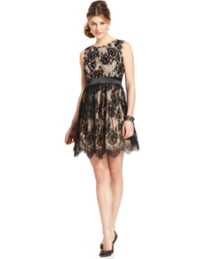 Betsy & Adam Dress, Sleeveless Lace Cocktail Dress
