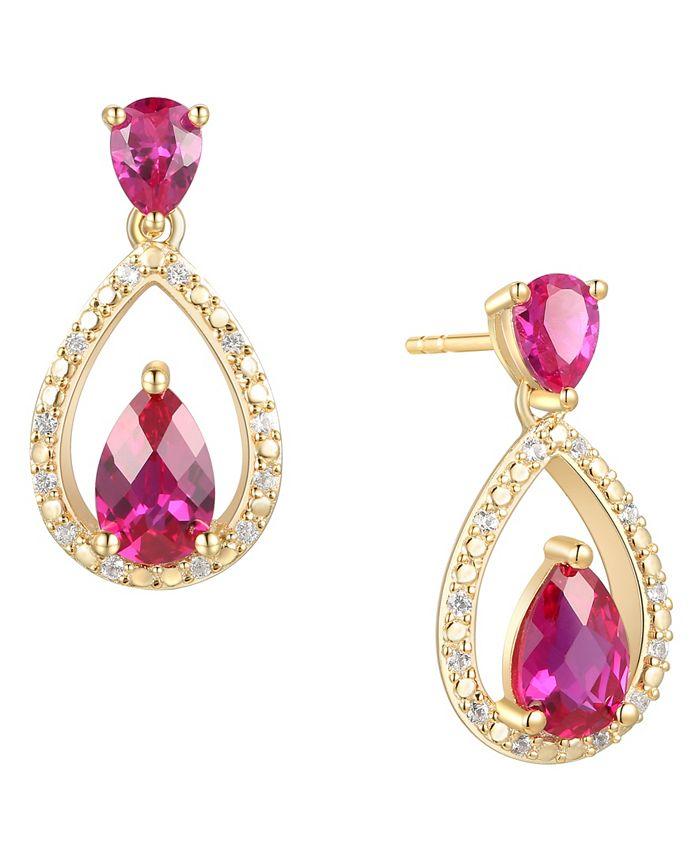 Macy's - Certified Ruby (1-1/5 ct. t.w.) & Diamond (1/20 ct. t.w.) Openwork Teardrop Drop Earrings in 14k Gold-Plated Sterling Silver