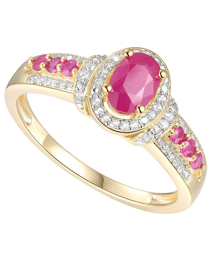 Macy's - Certified Ruby (3/4 ct. t.w.) & Diamond (1/10 ct. t.w.) Ring in 14k Gold-Plated Sterling Silver