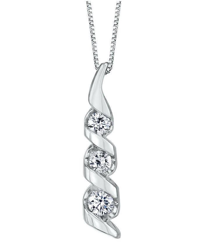 Sirena - 1/3 ct. t.w. Diamond Classic Three Stone Pendant in 14k Yellow Gold
