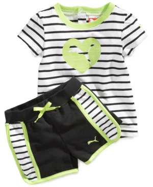 Puma Baby Set Baby Girls Striped Tee and Shorts