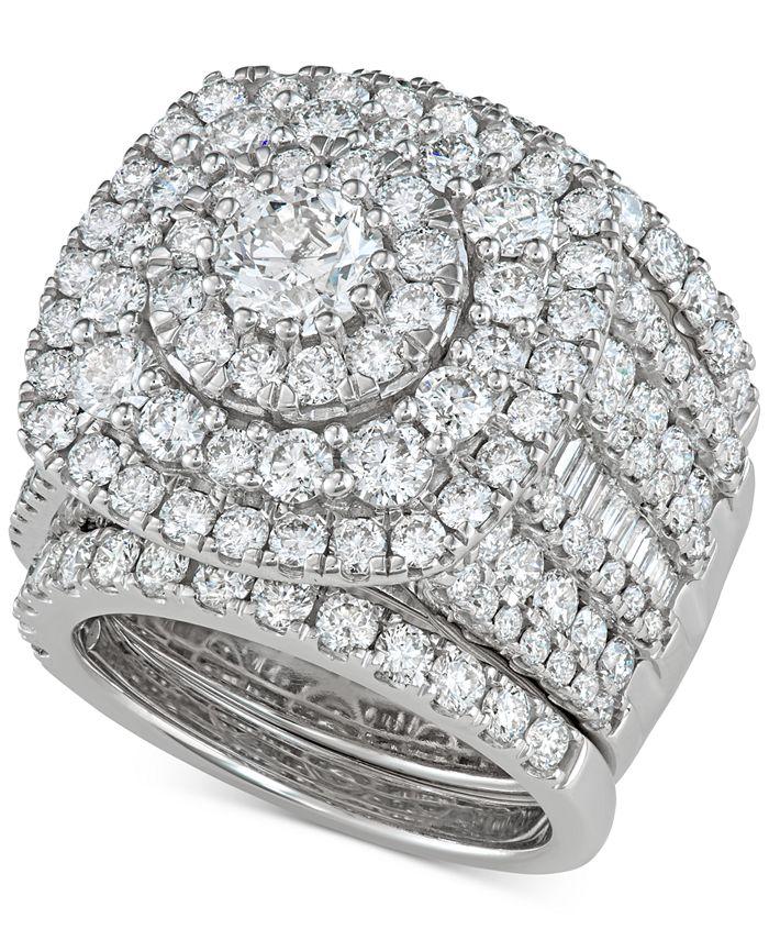Macy's - 3-Pc. Diamond Multi-Halo Cluster Bridal Set (5-3/8 ct. t.w.) in 14k White Gold