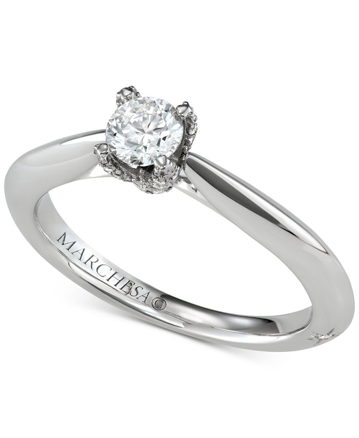Marchesa - Diamond Solitaire Engagement Ring (1/2 ct. t.w.) in 18k White Gold