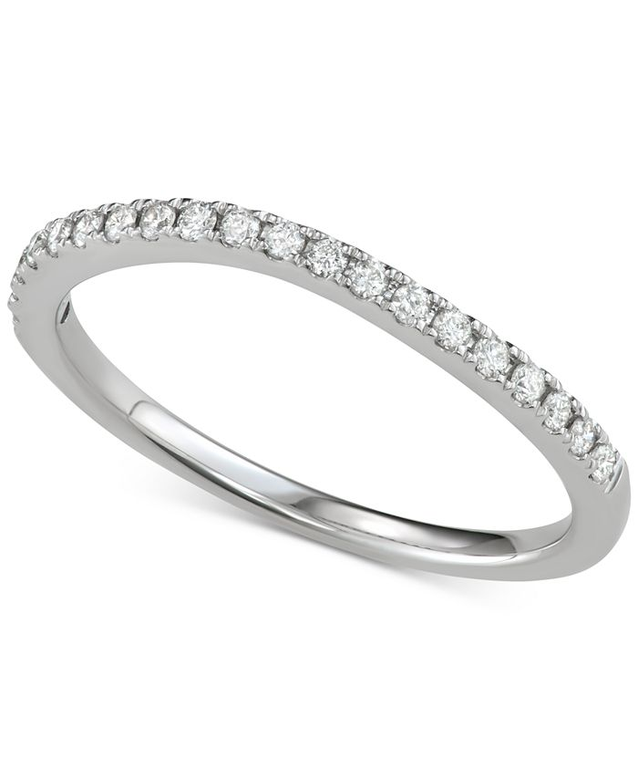 Macy's - Diamond Curved Band (1/5 ct. t.w.) in 14k White Gold