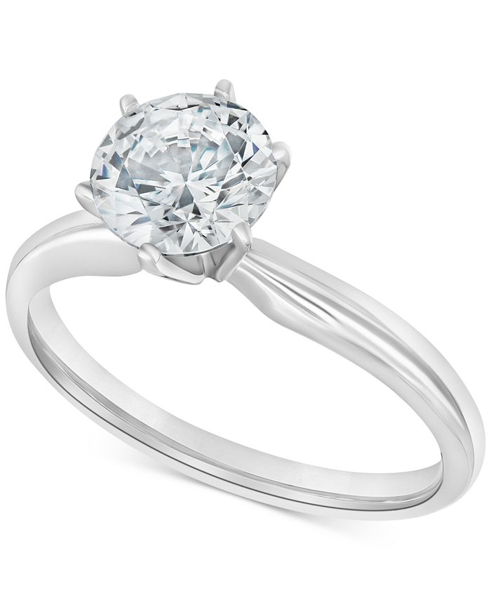 Macy's - Diamond Solitaire Engagement Ring (2 ct. t.w.) in 14k White or Yellow Gold
