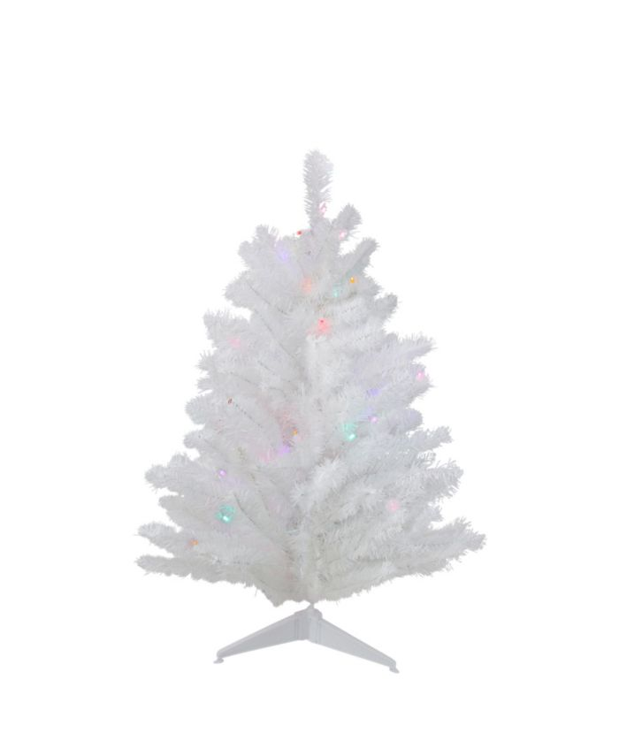 Northlight 2' Pre-Lit Snow White Artificial Christmas Tree - Multi Lights & Reviews - Holiday Shop - Home - Macy's