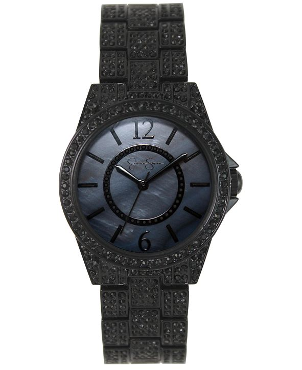 Jessica Simpson Women's Crystal Encrusted Black Plated Bracelet Watch 36mm