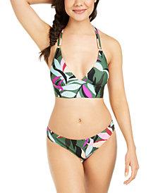 Hula Honey Juniors' Hyper Tropics Printed Midkini Bikini Top & Hipster Bottoms, Created Macy's