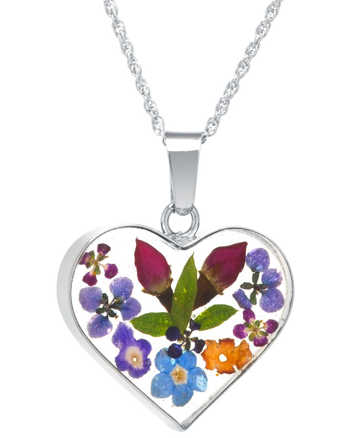 "Giani Bernini - Heart Shape Dried Flower Pendant with 18"" Chain in Sterling Silver"