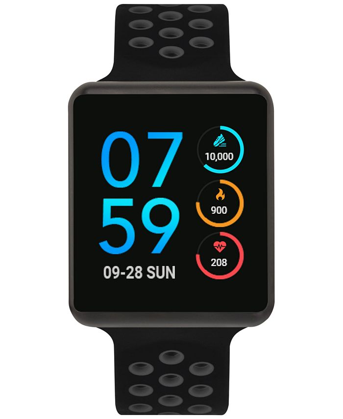 iTouch - Unisex Air Black & Grey Silicone Strap Touchscreen Smart Watch 35x41mm