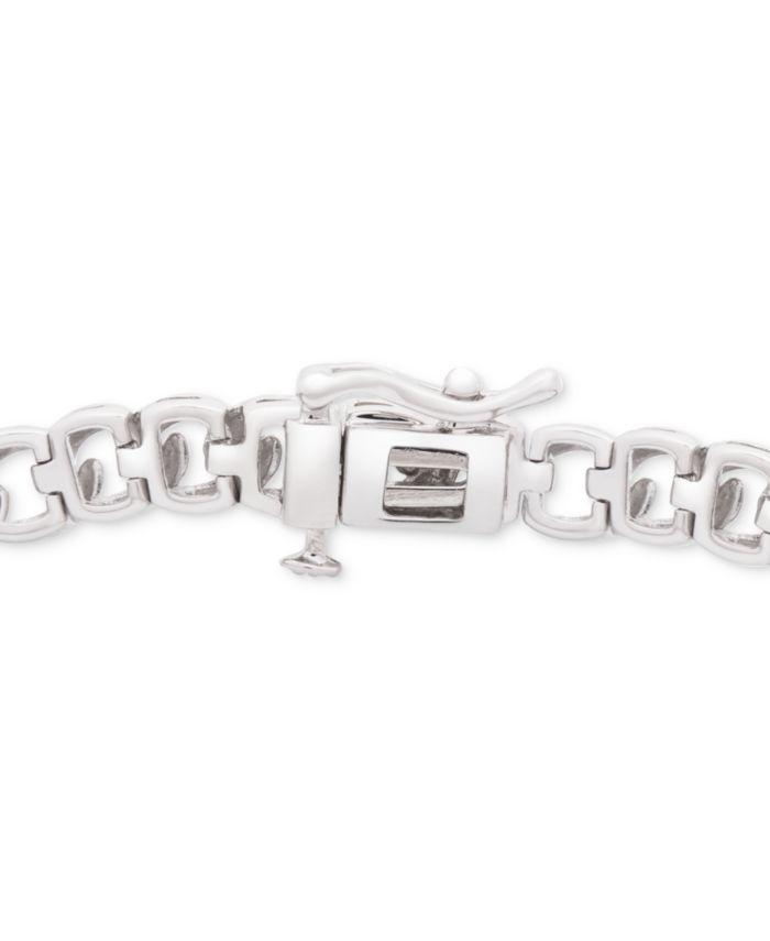 Macy's Diamond Pavé Plate Curb Link Bracelet (1/2 ct. t.w.) in Sterling Silver & Reviews - Bracelets - Jewelry & Watches - Macy's