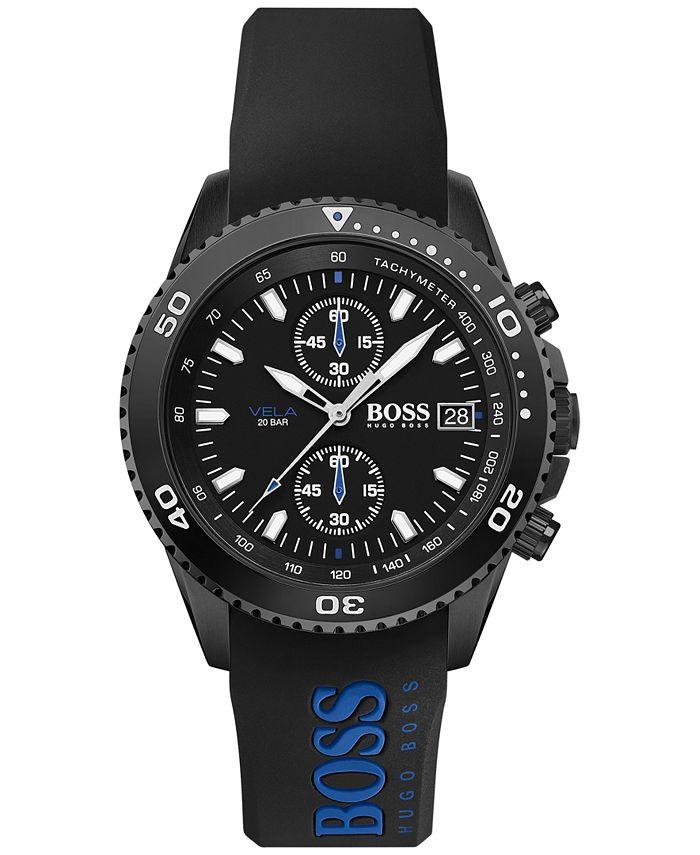 BOSS - Men's Chronograph Vela Black Silicone Strap Watch 44mm