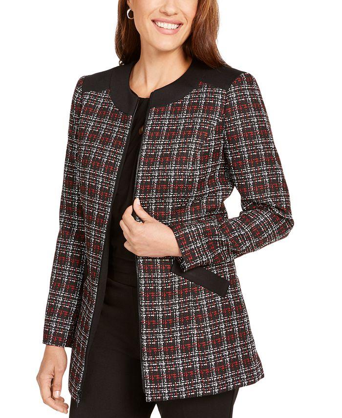 Kasper - Printed Zipper-Front Jacket