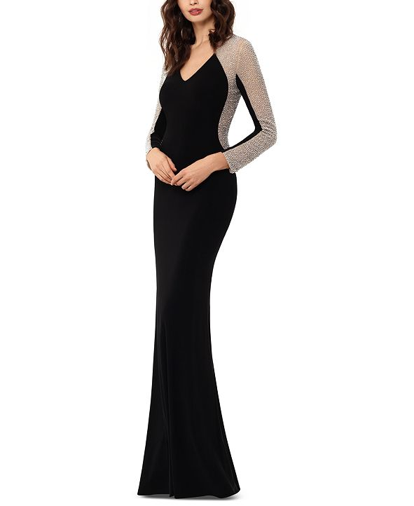 XSCAPE Petite Embellished-Mesh Gown