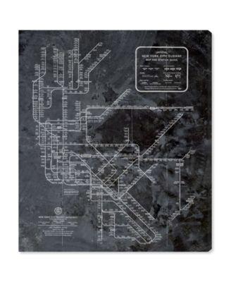 Ny Subway Map Dark Rustic Canvas Art, 20