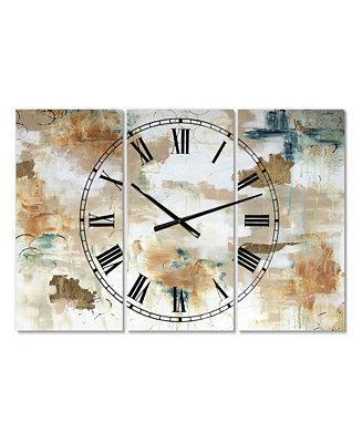 Designart Gilded Daydreams Oversized Modern 3 Panels Wall Clock 38 X 38 X 1 Reviews Clocks Home Decor Macy S