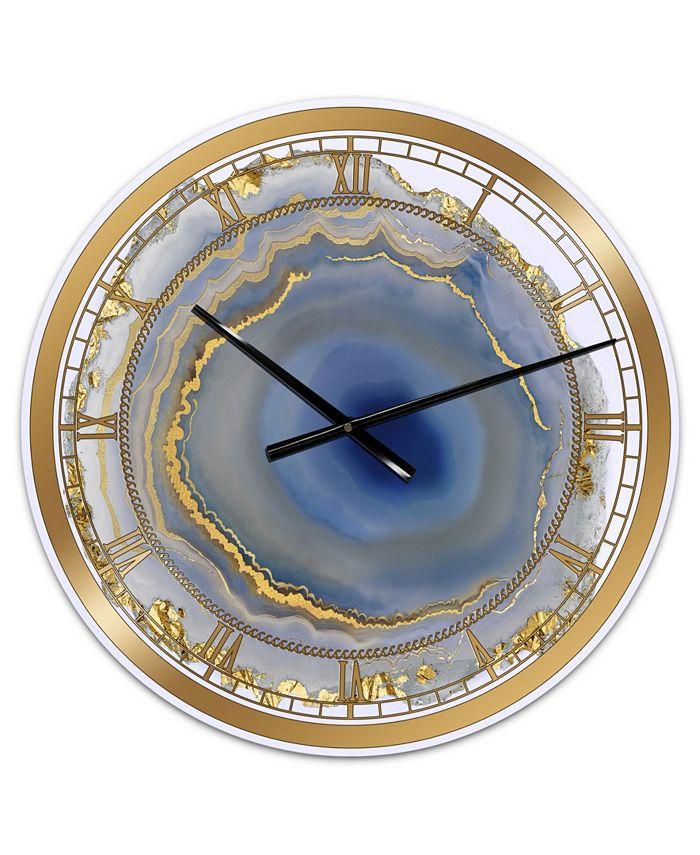 Designart Golden Water Agate Print Oversized Fashion Wall Clock 23 X 23 X 1 Reviews Clocks Home Decor Macy S