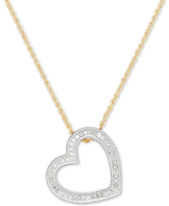 Macy's - Diamond Heart Pendant Necklace (1/4 ct. t.w.) in Sterling Silver & 14k Gold-Plate