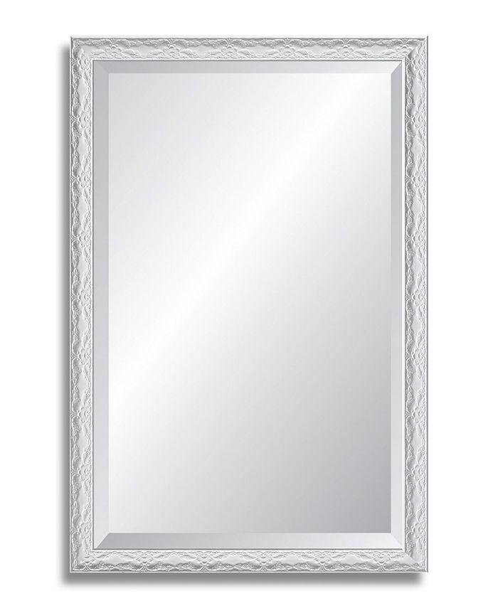 Reveal Frame & Décor - Ornate Gloss White Beveled Wall Mirror