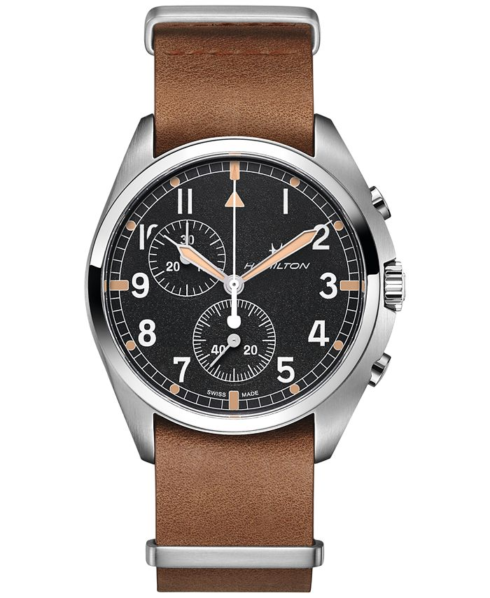 Hamilton - Men's Swiss Chronograph Khaki Pilot Pioneer Brown Leather Strap Watch 41mm