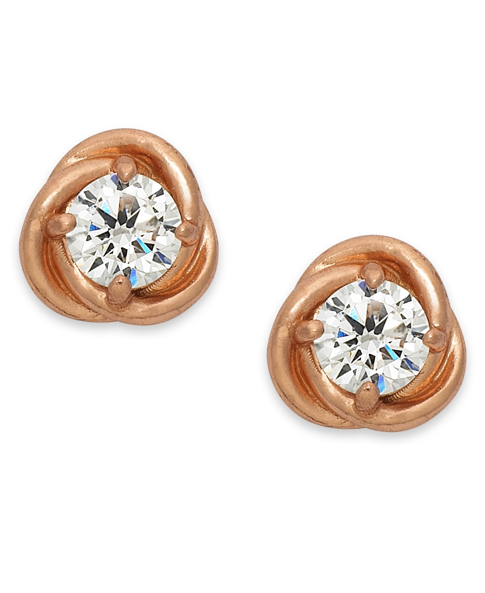 B. Brilliant 18k Rose Gold over Sterling Silver Earrings, Cubic Zirconia Love Knot Stud Earrings (1 ct. t.w.)   Earrings   Jewelry & Watches