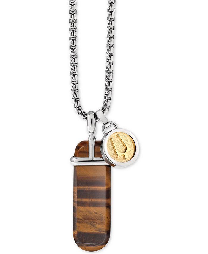 "Bulova - Men's Tiger's Eye (36 x 12mm) & Logo Disc Pendant Necklace in Silver- & Gold-Tone, 26"" + 2"" extender, J98N005"