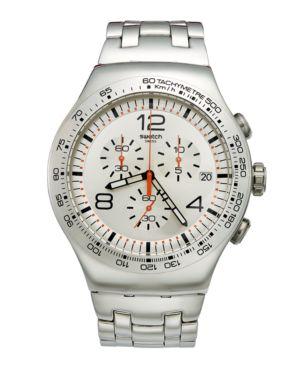 Swatch Watch, Men's Swiss Chronograph Shiny Addict Stainless Steel Bracelet 44mm YOS445G